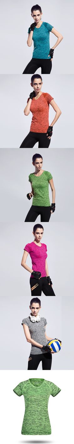 Women Gym Quick Dry  Tees Fitness Sports Suits Tops Jogging Female Yoga Clothes Run T-shirt Running Shirt Bodybuilding Clothing