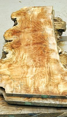 Big Leaf Maple Flitch A4865-a4875:  This is an excellent Big Leaf Maple Burl! Boards have outstanding figure mixed with interesting patches of spalt. It does show a bit of staining but in this log it adds to the overall dynamic character. The burl is 'punky' or rotten in spots but not so much so that it is soft. An excellent choice for coffee tables or other smaller projects.