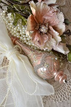 Love pink ornaments with pearls as an accent. More