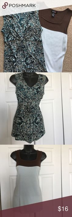 Two summer tops Pretty blue tones and sleeveless for summer. Both small. Studio G top is colorblock with brown. Both easy to pack, easy to wear. Beat the heat! Tops Blouses