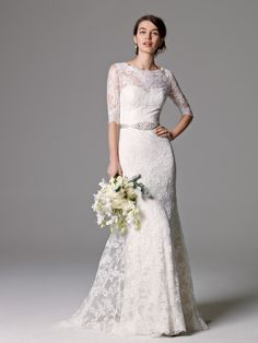 Lace wedding dress with 3/4 sleeves | 'Riviera' by Watters