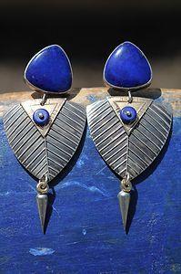 Vintage Signed Navajo Sterling Silver Gold Lapis Lazuli Earrings Verna Tahe | eBay
