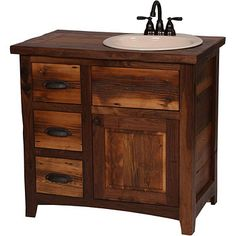 Image of Rustic VanityLikes the overall shape, not the wood, taller than normal, copper sink, dark faucet