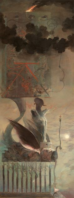 DENIS FORKAS KOSTROMITIN Etnabr Acrylics on paper- reminds me strongly of AOS. so strongly, i'd be a little surprised to hear this was an outright homage to the man and artist.