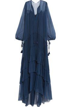 Tiered plissé silk-mousseline maxi dress | Chloe