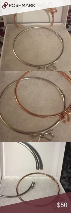 Kate Spade Adorable delicate bangles Copper and silver classic Kate Spade bow bangles. Perfect condition kate spade Jewelry Bracelets
