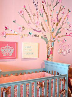 Turquoise crib with Caden Lane Ava bedding.
