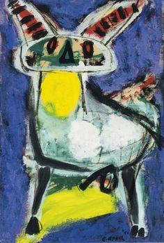 Karel Appel, (1921-2006), In november 1948 bezochten enkele leden van de Experimentele Groep een internationale conferentie over avant-garde kunst in Parijs, die was georganiseerd door Franse en Belgische surrealistische collega's. Onder anderen de Belg Christian Dotremont vond de benadering van de Fransen te sektarisch. Enkele Deense, Nederlandse en Belgische kunstenaars trokken zich daarop terug uit het congres en richtten de groep Cobra op. -1951