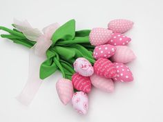 Valentine day home decor dozen tulip flowers fabric flower pink bouquet spring flowers- birthday gift,get well. Gift for girl,wife,sister. $43.00, via Etsy.
