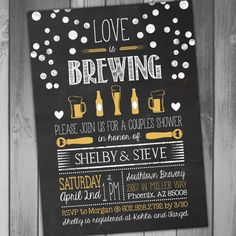 Bridal Shower Invitation Love Is Brewing by CLaceyDesign on Etsy