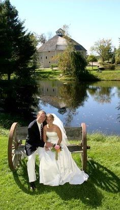 Vermont weddings and wedding receptions at The Round Barn Farm. The round barn looks so cool inside. All wood interior.