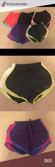 Nike tempo running shorts All only worn a few times, except the dark grey with green sides pair which was worn a bit more-still in great condition though. Dark grey pair and black with pink sides have my initials in them. All black pair has some stitches loose in the waistband, I can post pictures of it if needed. Nike Shorts