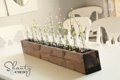 diy planter box centerpiece from shanty 2 chic Planter Box Centerpiece, Dining Room Centerpiece, Diy Planter Box, Diy Centerpieces, Diy Planters, Table Decorations, Wooden Planters, Dining Table, Vases