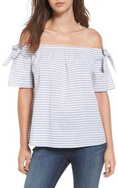Women's Soprano Stripe Cotton & Linen Off The Shoulder Top