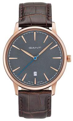 b1c074cb43d Gant Herrenuhr Lederarmband dunkelbraun W71302 Datum Gant Herren Armbanduhr  Lederarmband braun GT020005 Datum
