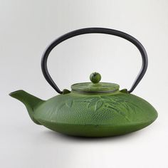 One of my favorite discoveries at WorldMarket.com: Green Bamboo Cast Iron Teapot