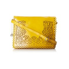 This bright purse made of faux patent leather will shine by your side, and not just because of its sunny yellow hue.