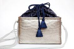 Platinum Lacquered Woven Bamboo Handbag (Kumihimo Strap, Sashiko Inner)