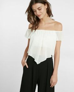 off the shoulder abbreviated blouse