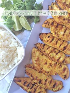 THAI COCONUT LIME CHICKEN | coconut milk, curry, and lime combine to make an awesome marinade for grilled chicken! www.togetherasfamily.com