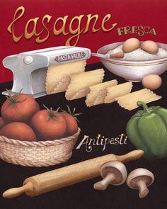 Lasagna Class Restaurant Tasteful Italian Cooking Pasta Retro Cooking Decorative Decoration. Click for vegetarian lasagna recipe!