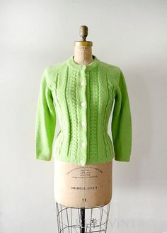 vintage 1960s sweater lime green 60s cardigan by shopREiNViNTAGE, $ 36.00