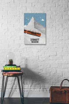 A product from the 'Tour De Suisse' illustrations and picture effects by designer Gareth Knott of LEKKA. Chf, Zermatt, Train, Storage, Wood, Prints, Furniture, Design, Home Decor