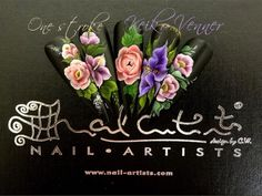 #nailart #nail #design #flower #acrylic #painting #onestroke @keikovennernailartists www.nail-artists-academy.co.uk