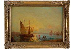 FÉLIX FRANCOIS GEORGES PHILIBERT ZIEM 1821 Beaune - 1911 Paris Fischer beim Einholen ihrer Netze