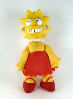 Do you collect Simpson's Dolls or other memorabilia check out this one we have.  - 8 Inches tall soft plush with a hard plastic head.  - Yellow with a red dress and shoes.  - Has some smudge marks to the front and shoes.  - Made in 1990 by The Simpsons and 20th Century Fox.  - Made in china.  - Polyester material.