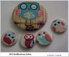 Button SET - Eulen 5 Buttons -  Brosche von ღKreawusel-Designღ auf DaWanda.com