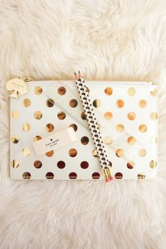 Kate Spade New York Pencil Pouch With Bridge Pencils