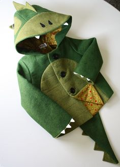 Kid's coat: cheeky green dino by littlegoodall