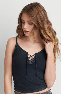 AEO First Essentials Soft and Sexy Crop Tank  by  American Eagle Outfitters | FIRST ESSENTIALS: Our Soft and Sexy first layers, offered in tanks, body suits and ballet tees. Shop the AEO First Essentials Soft and Sexy Crop Tank  and check out more at AE.com.