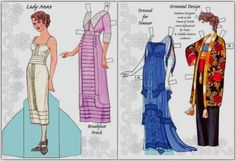 Downton Abbey - English Country Dress Up Paper Dolls - by Dover - == -  Offered by Dover Publications, these dress up paper dolls show the fashion of the 1910s until 1920.
