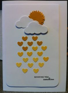 idea: done with die cuts only, sun peeking out behind clouds and raining gold hued hearts Handmade Greeting Card Designs, Handmade Greetings, Diy Handmade Cards, Oyin Handmade, Handmade Pottery, Handmade Crafts, Handmade Jewelry, Tarjetas Diy, Karten Diy