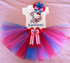 Hello Kitty lollipop theme birthday girl outfit with matching accessory by ChicBowtiqueInfinity, $60.00