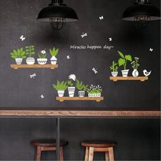 Plant Potted Shop Glass Door Cafe Decoration Wall Stickers sweet wall stickers home decals quotes mural arts printing LS*D Wall Painting Decor, Mural Wall Art, Vinyl Wall Art, Vinyl Decals, Cafe Shop Design, Coffee Shop Interior Design, Coffee Wall Art, Cafe Wall, Wall Art Designs
