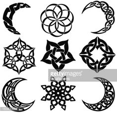 Vector Art : Celtic knot moons, stars, shapes