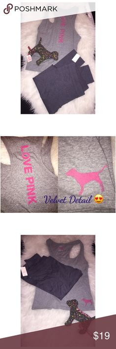 Victoria's Secret Love Pink Tank Grey Victoria's Secret Pink gray tank. New without tags. Size medium. Velvet detail on the front and back as show. Never worn. PINK Victoria's Secret Tops