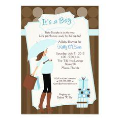 Modern Mom Baby Shower Invitation - Baby Boy!