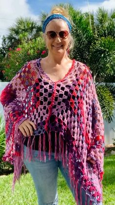 Boho Crochet Patterns, Hippie Crochet, Crochet Designs, Crochet Jacket, Knit Crochet, Knit Poncho, Easy Crochet Shawl, Crochet Shawl Diagram, Easy Crochet Stitches