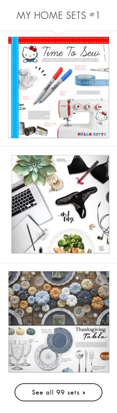 """""""MY HOME SETS #1"""" by larissa-takahassi ❤ liked on Polyvore featuring interior, interiors, interior design, home, home decor, interior decorating, Hello Kitty, Sharpie, Old Navy and hellokitty"""