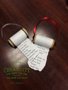 Make your wish list for Santa by repurposed wine corks, paper, pins & ribbon.  Easy to do and make it personal for your family to be a yearly ornament showing what the top wanted gifts were!  Christmas 2015 Wish List.