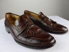 Johnston Murphy Tassel Italy 15-2206 Brown Slip On Leather Shoe Loafer Men 10 M #JohnstonMurphy #LoafersSlipOns