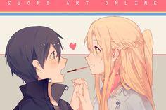 Sword Art Online, Asuna and Kirito, Pocky Challenge! Sword Art Online Asuna, Kirito Asuna, Arte Online, Online Art, Sao Anime, Manga Anime, Pocky Game, Tous Les Anime, Sword Art Online Wallpaper