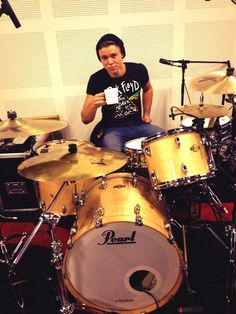Coffee, Drums, & Ashton. My 3 most favorite things in the world.