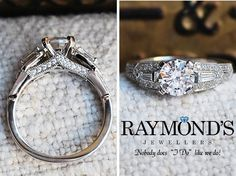#Diamonds on the side will let you see the sparkle no matter which way your ring is facing! #SiouxFalls www.raymondsjewellers.com