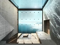 sichtbeton wohnzimmer minimalistisches grobes design