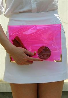 Clear Jel Candy Envelope Clutch Purse Bag Pink TRANSPARENT from EastWorkshop
